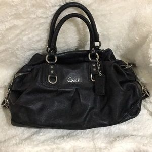Coach Leather Black Signature Satchel